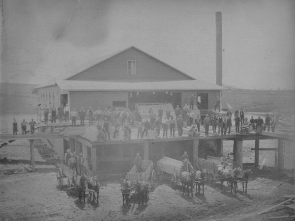 Workers and horse drawn loads of lumber wagons in front of Sullivan's Lumber Mill in Canton