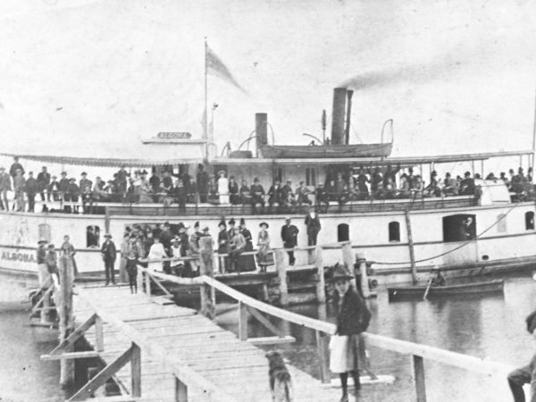 Passengers on the transportation steamer Algoma in Waddington