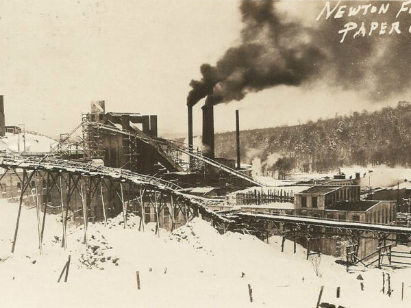 Newton Falls Paper Mill complex in winter in Newton Falls