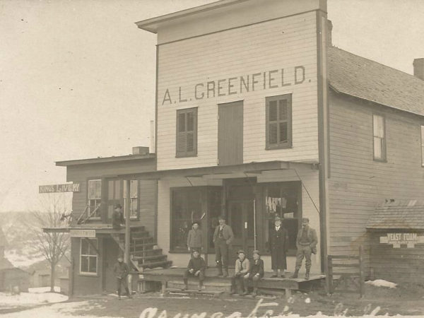 A. L. Greenfield store and Kings Livery in Oswegatchie