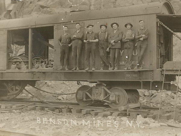 Benson Mines employees pose on 70 ton Bucyrus excavator