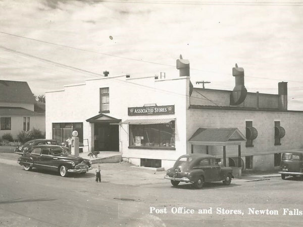 Post Office, stores, and gas pump in Newton Falls