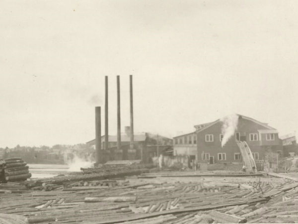 Lumber mill and mill pond in Cranberry Lake