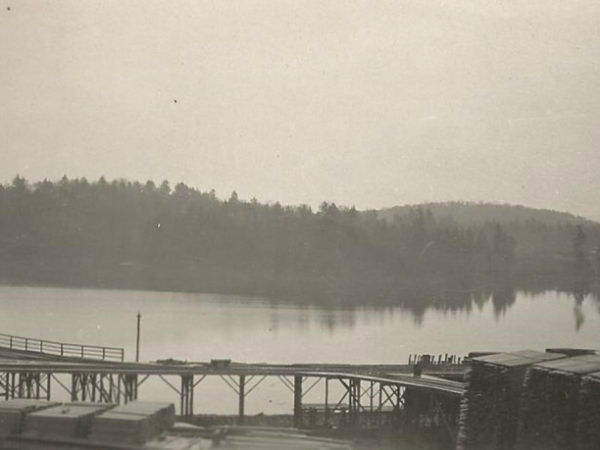 Lumber yard on Silver Pond in Cranberry Lake