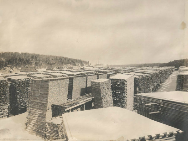 View of the Emporium Forestry Company lumber yard in Cranberry Lake