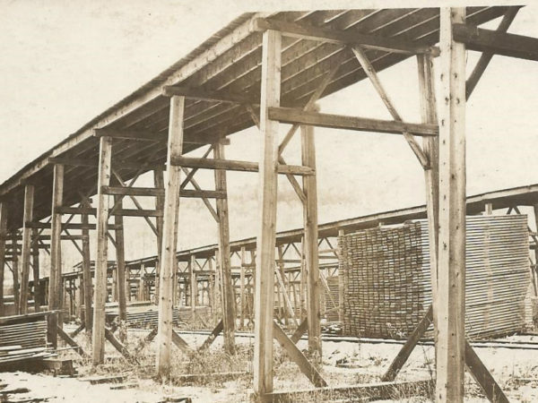 Emporium Forestry Company lumber yard drying stacks in Cranberry Lake