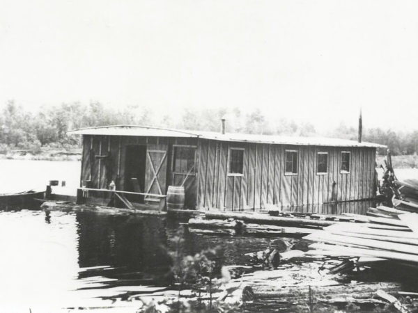 Floating lumber camp at Chair Rock Bay in Cranberry Lake