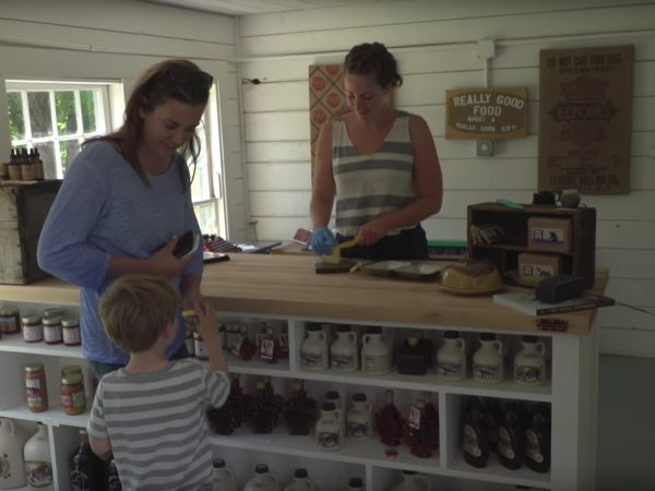 Tasting cheese in the farm store of Sugar House Creamery in Upper Jay