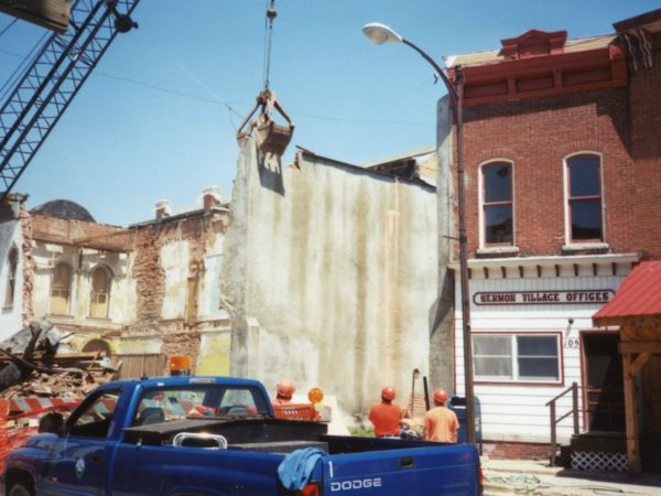 Demolition of the 1876 D.L. Lynde block in Hermon