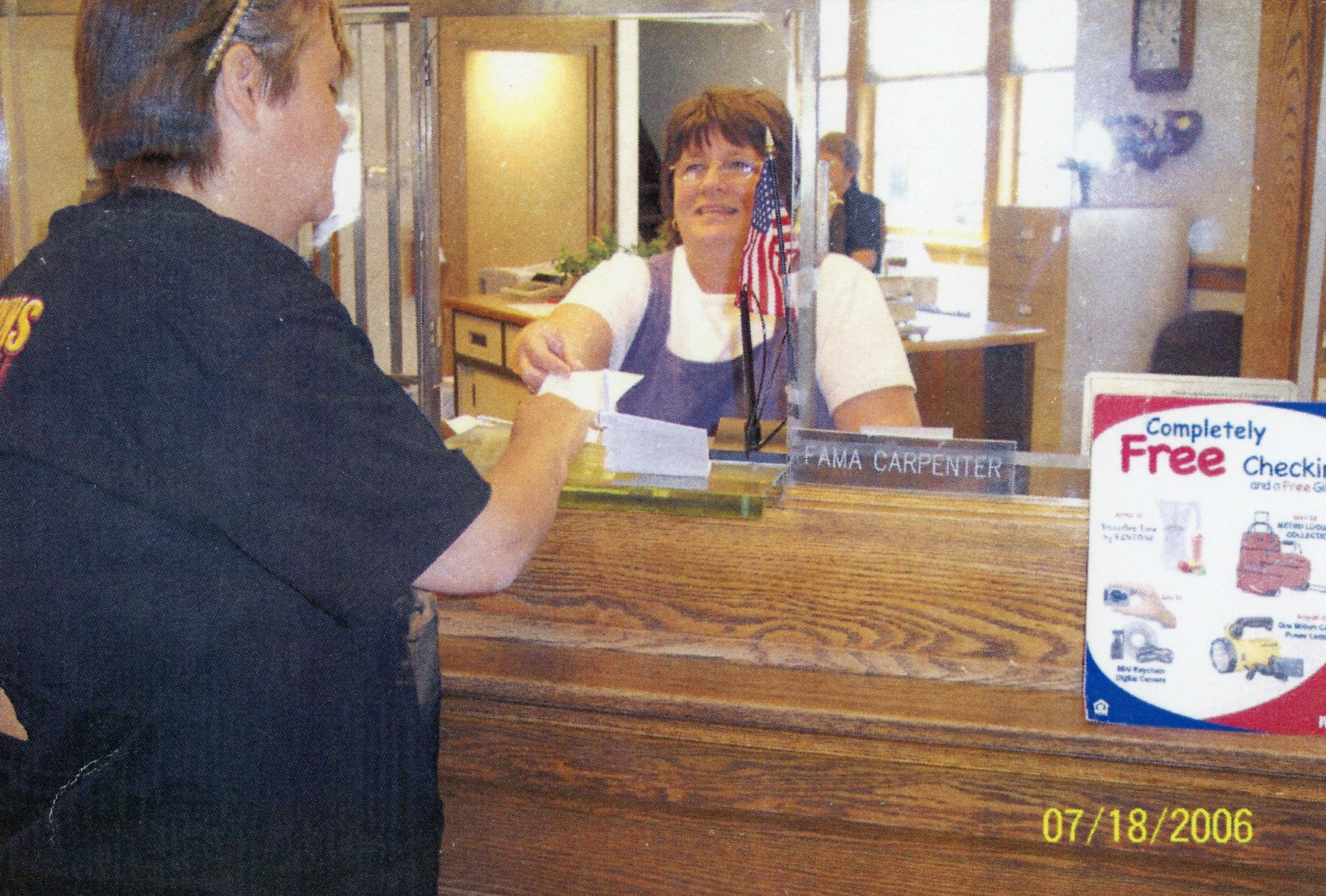 Connie Green Working As A Bank Teller In The Hermon Community Bank