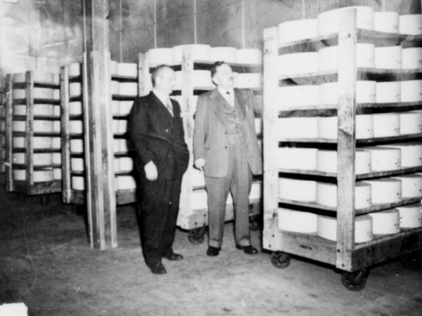 Inspecting cheese inside the Hermon Dairy Company in Hermon