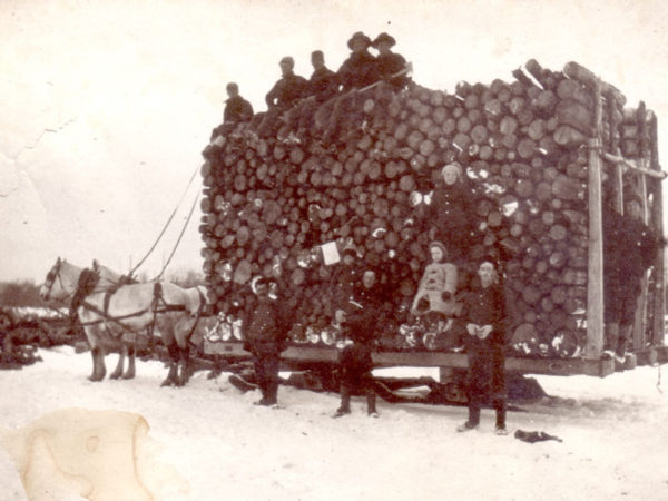 A record load of pulp logs on a Sled in Potsdam