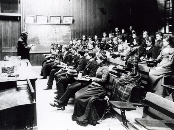 Students in lecture at the Potsdam Normal School in Potsdam