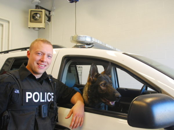 Officer Nason with Tupper Lake Police Department's K-9 Unit in Tupper