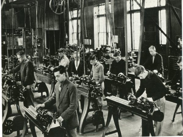 Students in metal machine shop at the Clarkson School of Technology in Potsdam