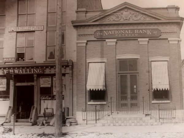 The First National Bank of Potsdam and Wallings Hardware Store in Potsdam