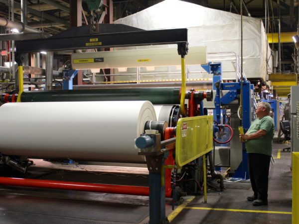 Making rolls of paper inside the Potsdam Specialty Paper Company in Potsdam