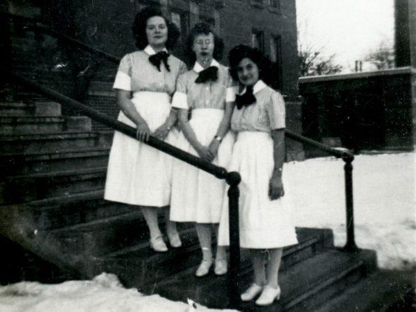 Nursing students outside the nurse's residence in Ogdensburg