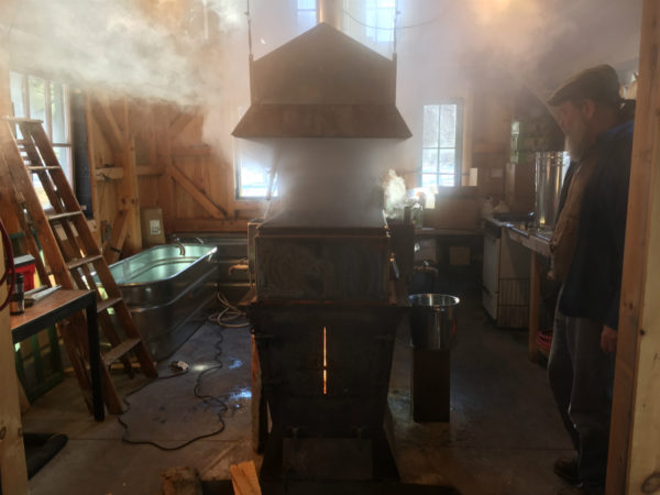 Michael Greer watching his maple syrup evaporator in Potsdam