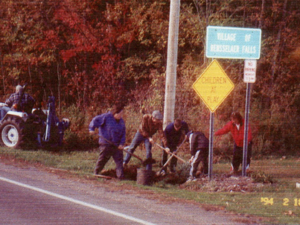 Planting a tree after the 1998 Ice Storm in Rensselaer Falls