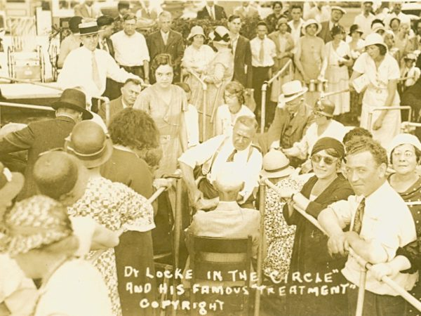 Doctor Locke in the center of his treatment circle in Williamsburg