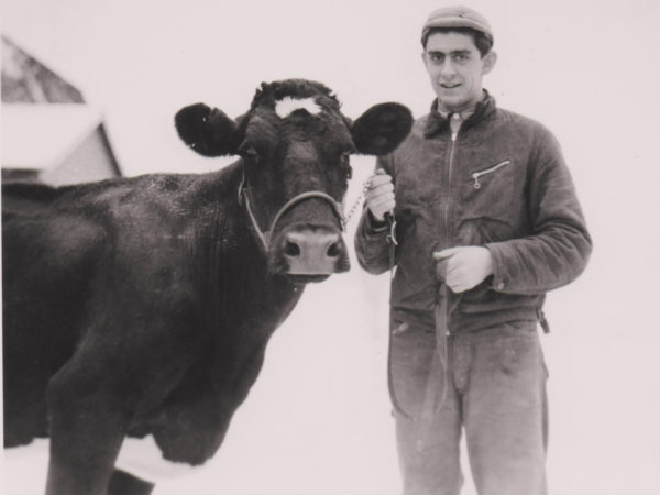 Bob Thompson with one of his registered Holsteins in Lisbon