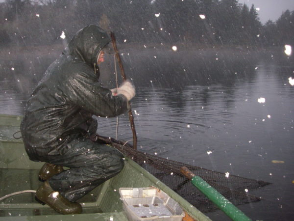 Dan Josephson on a trout stocking truck in Old Forge |