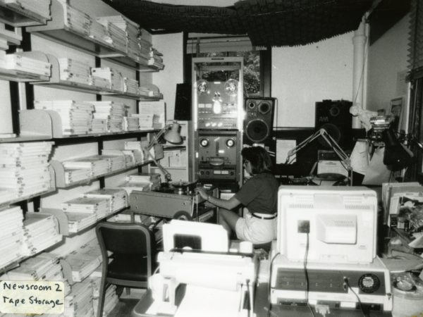 Martha Foley in the radio's tape storage room in Canton