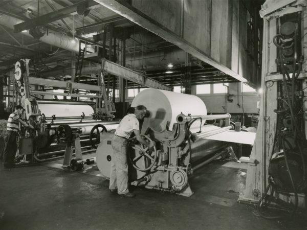 Winding Paper Inside Newton Falls Paper Mill