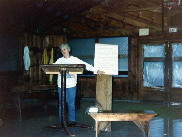 June McKenney gives staff orientation at Northern Frontier Camp in North River