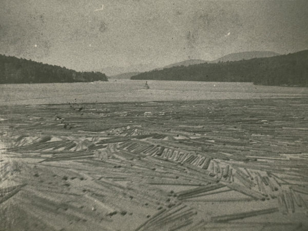 Log boom being towed by steamboat in Long Lake