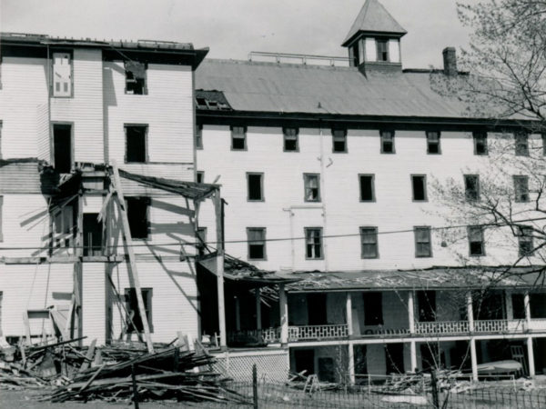 The Sagamore Hotel being destroyed in Long Lake