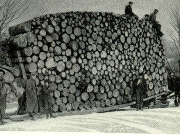 Seven men with huge load of pulpwood on a sled in the Adirondacks