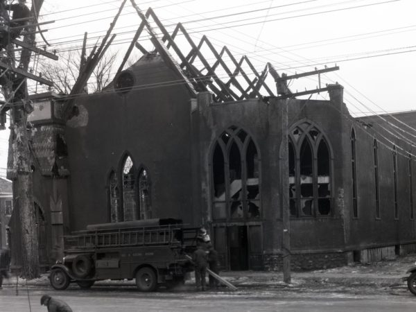 Fire aftermath of Plattsburgh Baptist Church in Plattsburgh