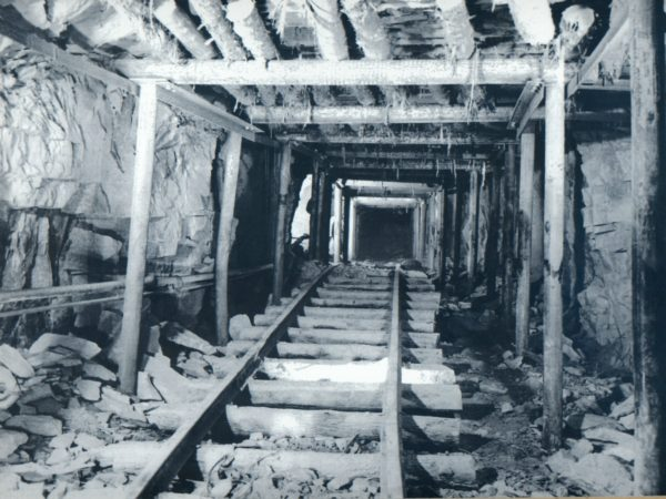 Timber framed tunnel for transporting ore inside the mine in Lyon Mountain