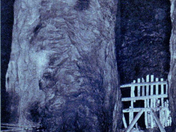 Large pillar underground in the mines in Lyon Mountain