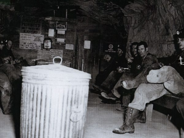 Lyon Mountain miners on underground lunch break in Lyon Mountain