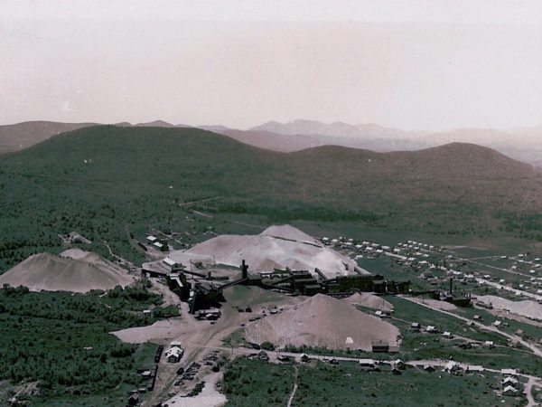 : Aerial view of the Lyon Mountain mines in Lyon Mountain