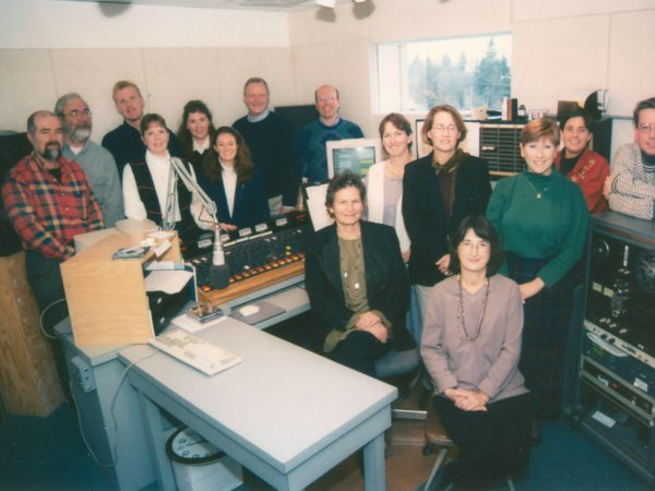 Staff of North Country Public Radio in control room in Canton