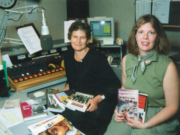 Ellen Rocco and Kelly Trombley in NCPR control room in Canton
