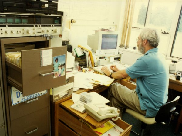 NCPR engineer Bob Sauter in his office in Canton