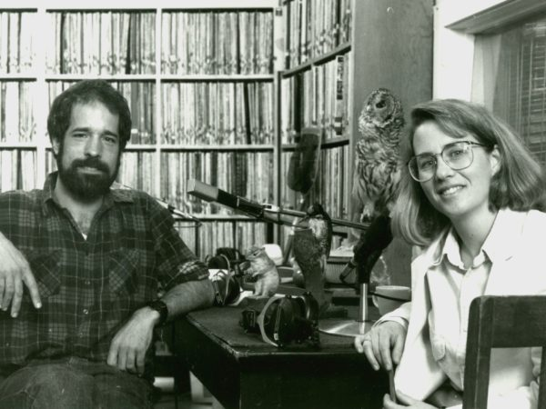 Curt Stager and Martha Foley in the record room at NCPR in Canton
