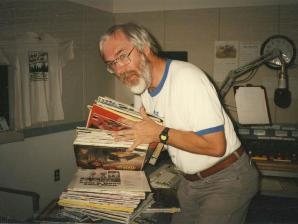 Bob Sauter with records in the NCPR control room in Canton