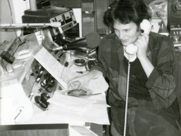 Station manager Ellen Rocco makes a phone call at NCPR in Canton