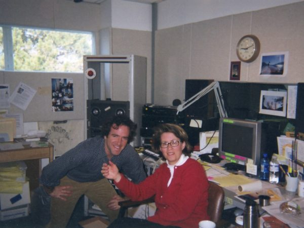 David Sommerstein and Martha Foley in office at NCPR in Canton