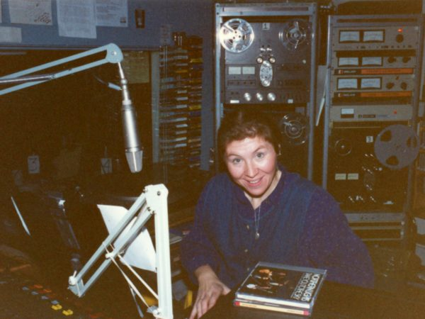 Show host Barb Heller in the control room at NCPR in Canton