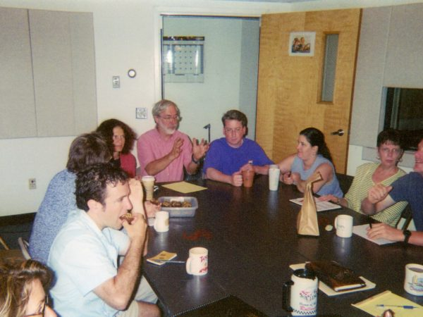 Staff meeting in production studio at NCPR in Canton