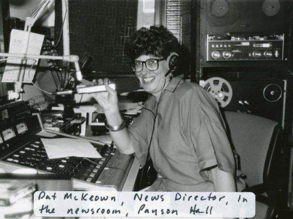 News director Pat McKowan in newsroom at NCPR in Canton