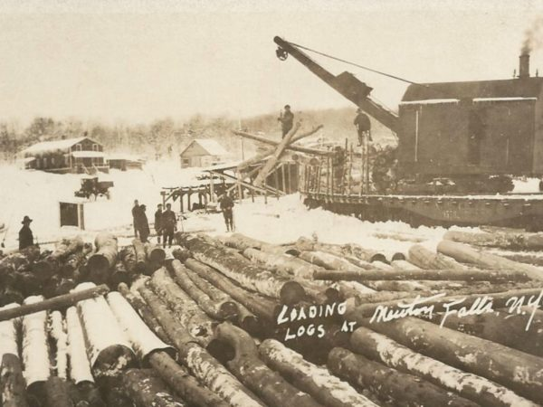 Steam loading logs in Newton Falls
