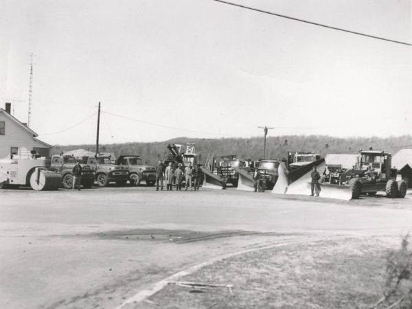 Highway department with trucks at the town barn in Newton Falls